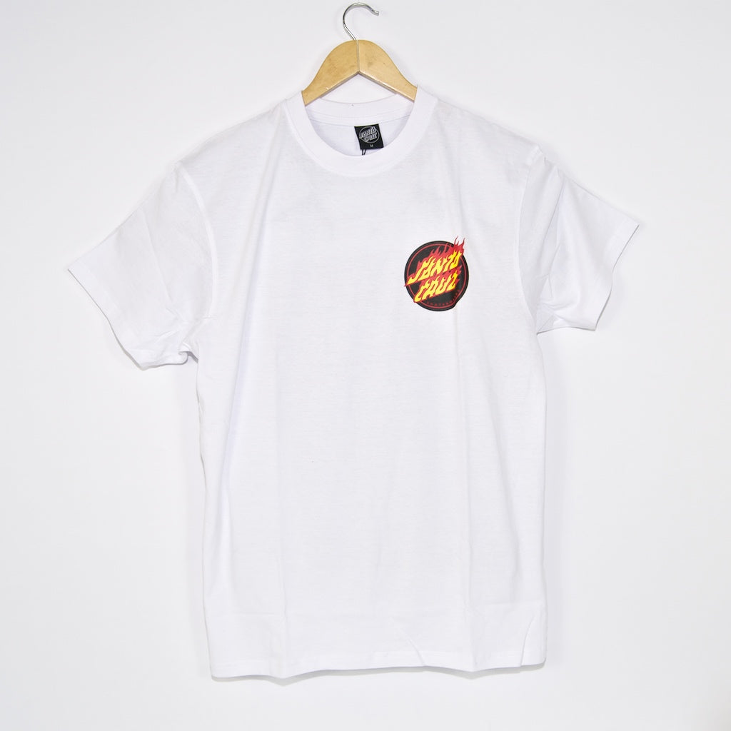 Santa Cruz - Flaming Japanese Dot T-Shirt - White