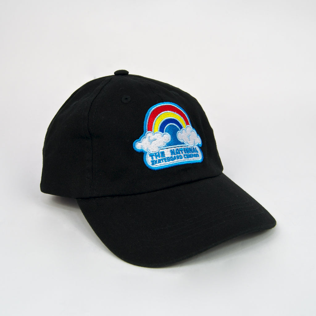 The National Skateboard Co. - Double Rainbow Embroidered 6-Panel Cap - Black