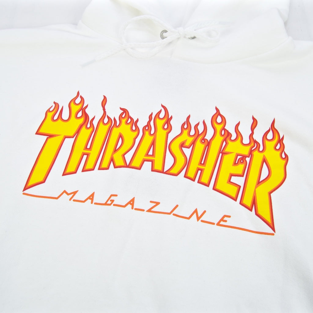Thrasher - Flame Logo Pullover Hooded Sweatshirt - White