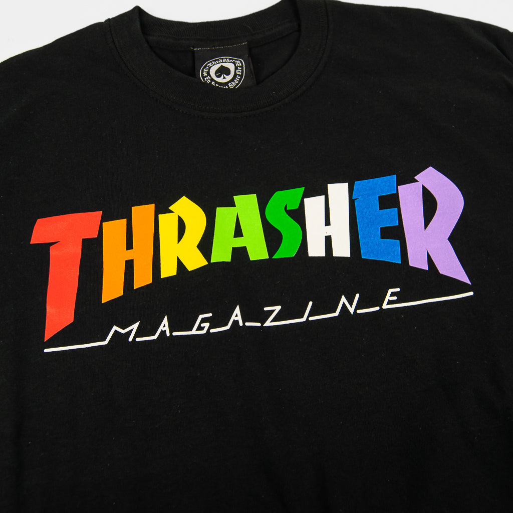 Thrasher Magazine - Rainbow Mag Logo T-Shirt - Black