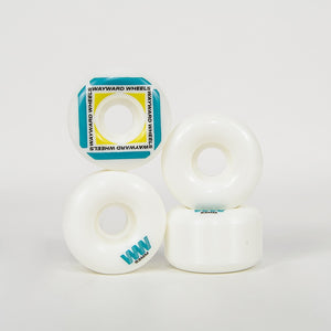 Wayward Wheels - 53mm (101a) H-Cut Waypoint Skateboard Wheels - White / Teal