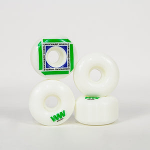 Wayward Wheels - 55mm (101a) H-Cut Waypoint Skateboard Wheels - White / Green