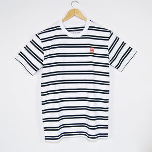 Welcome Skate Store - Burger Embroidered Striped T-Shirt - White / Navy