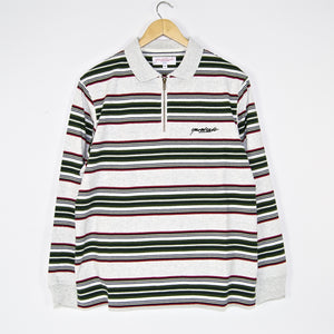 Yardsale - Dolores Quarterzip Polo Shirt - Ash / Green / Red