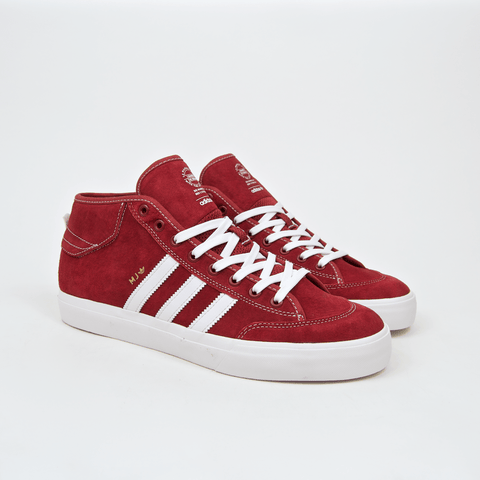Adidas Skateboarding - Marc Johnson Matchcourt Mid Shoes - Mystery Red / Crystal White / Gold Metallic