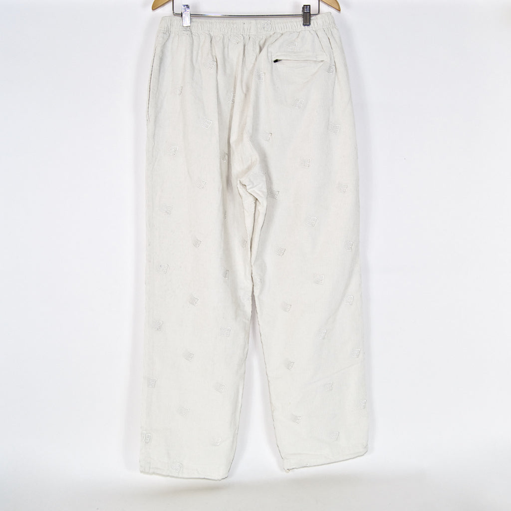 Bronze 56K - Allover B Logo Embroidered Cord Pants - White