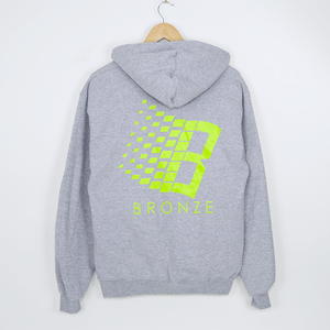 Bronze 56K - B Logo Hooded Sweatshirt - Heather Grey / Lime
