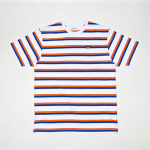 Civilist - Striped T-Shirt – White / Blue / Orange