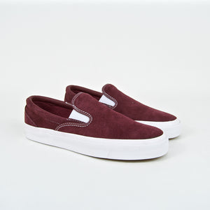 Converse Cons - One Star CC Slip-On Shoes - Dark Burgundy / White
