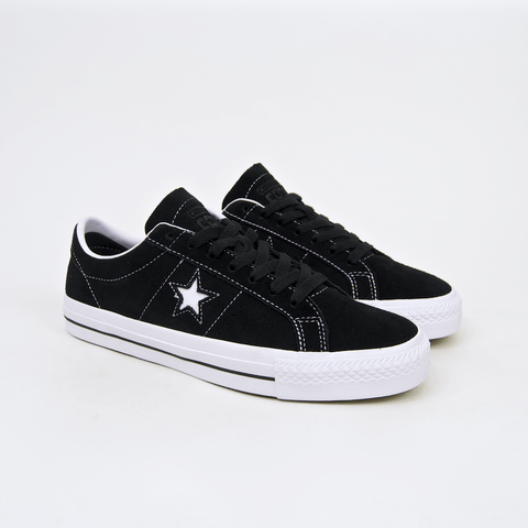 Converse Cons - One Star Pro OX Shoes - Black / White / White