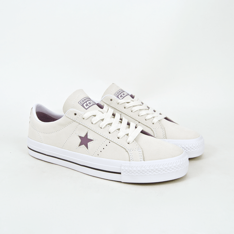 Converse Cons - One Star Pro OX Shoes - Egret / Violet Dust / White