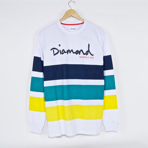Diamond Supply Co. - OG Script Striped Longsleeve T-Shirt - White