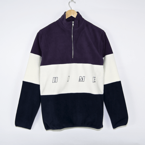 Dime MTL - 3-Tone Pullover Fleece - Purple / White / Black