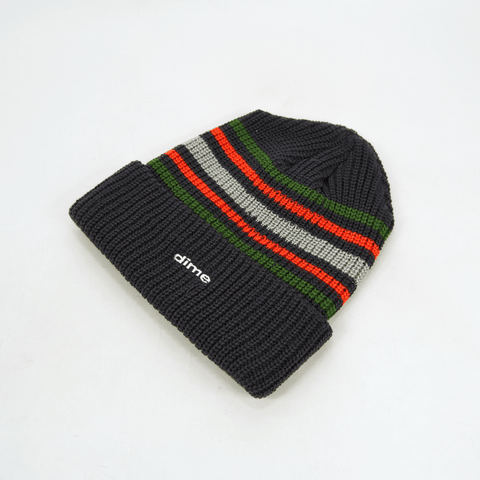 Dime MTL - Striped Beanie - Charcoal