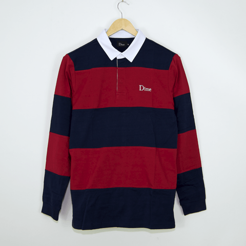 Dime MTL - Striped Rugby Shirt - Navy / Red