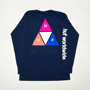 Huf - Prism Triple Triangle Longsleeve T-Shirt - Insignia Blue