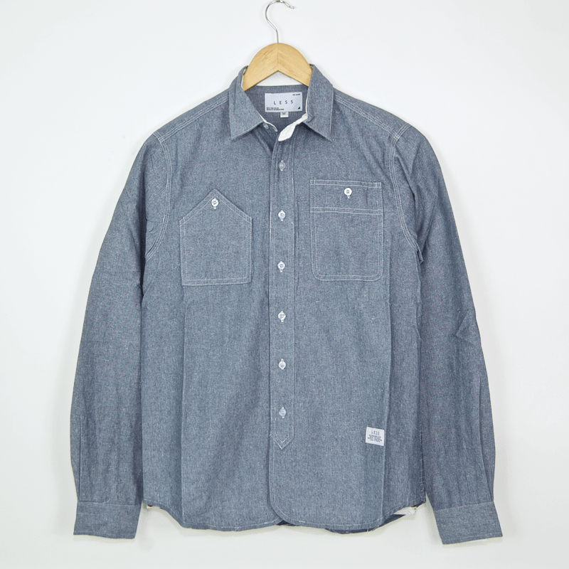 Less - Embroidered Longsleeve Work Shirt - Chambray Blue