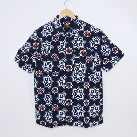 Levi's Skateboarding Collection - Button Down Short Sleeve Shirt - Navy Waterthrush Seersucker
