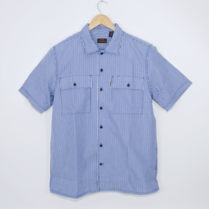 Levi's Skateboarding Collection - Button Down Short Sleeve Shirt - True Blue Seersucker