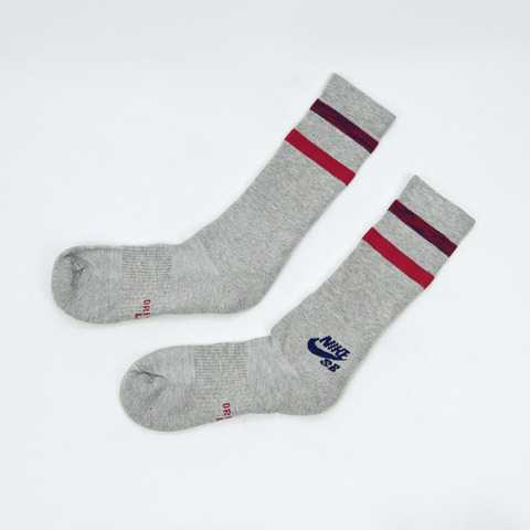 Nike SB - Crew Skateboarding Socks - Grey / Blue / Red