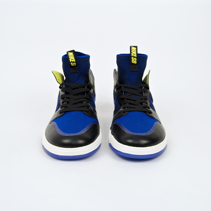 Nike SB - Dunk Elite High QS Shoes (Kev Terp) - Black / Racer Blue -Sail - Sonic Yellow
