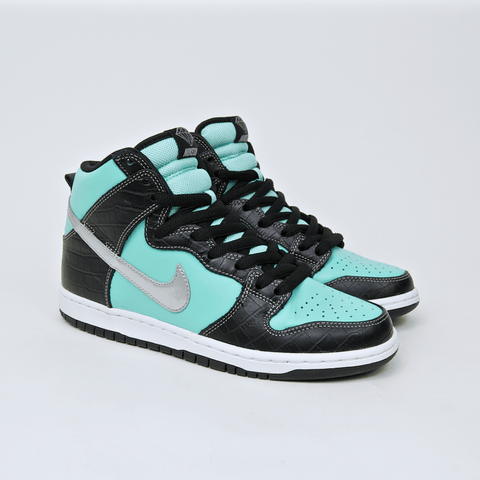 Nike SB - Dunk High Premium SB 'Diamond' Shoes - Aqua / Chrome - Black