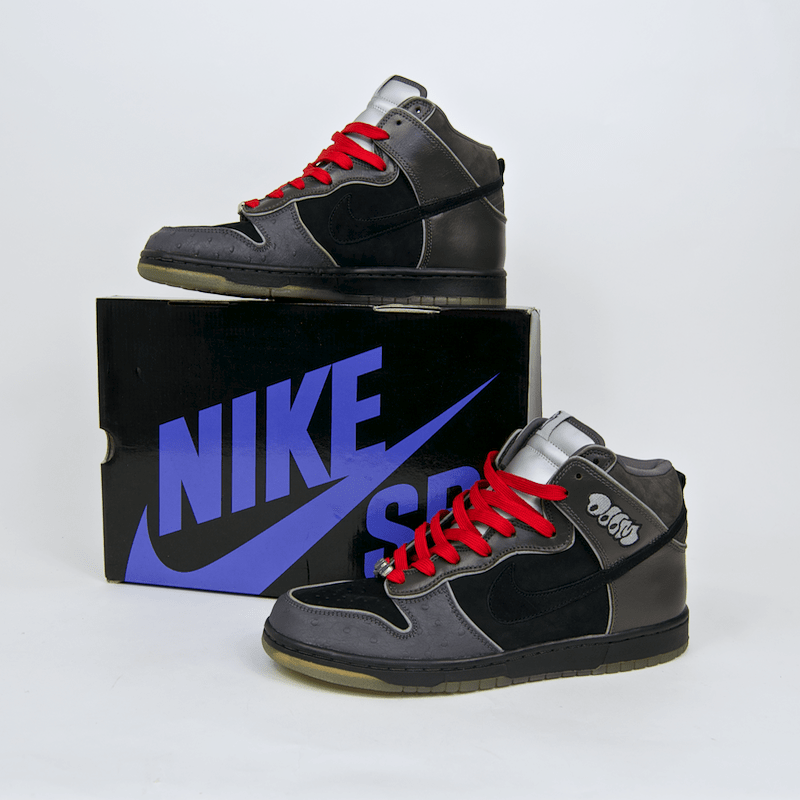 finest selection fb554 c9a67 ... Nike SB - Dunk High Premium SB MF Doom Shoes - Black Black - Midnight  Fog ...
