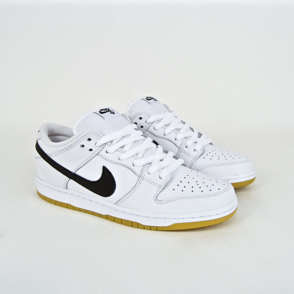 Abrazadera Dolor caos  Nike SB - Dunk Low Pro Orange Label ISO Shoes - White / Black / Gum |  Welcome Skate Store