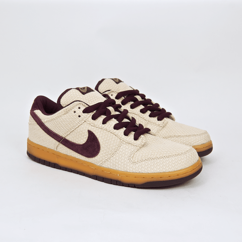 Nike SB - Dunk Low Pro SB 'Burgundy Hemp' Shoes - Jersey Gold / Mahogany