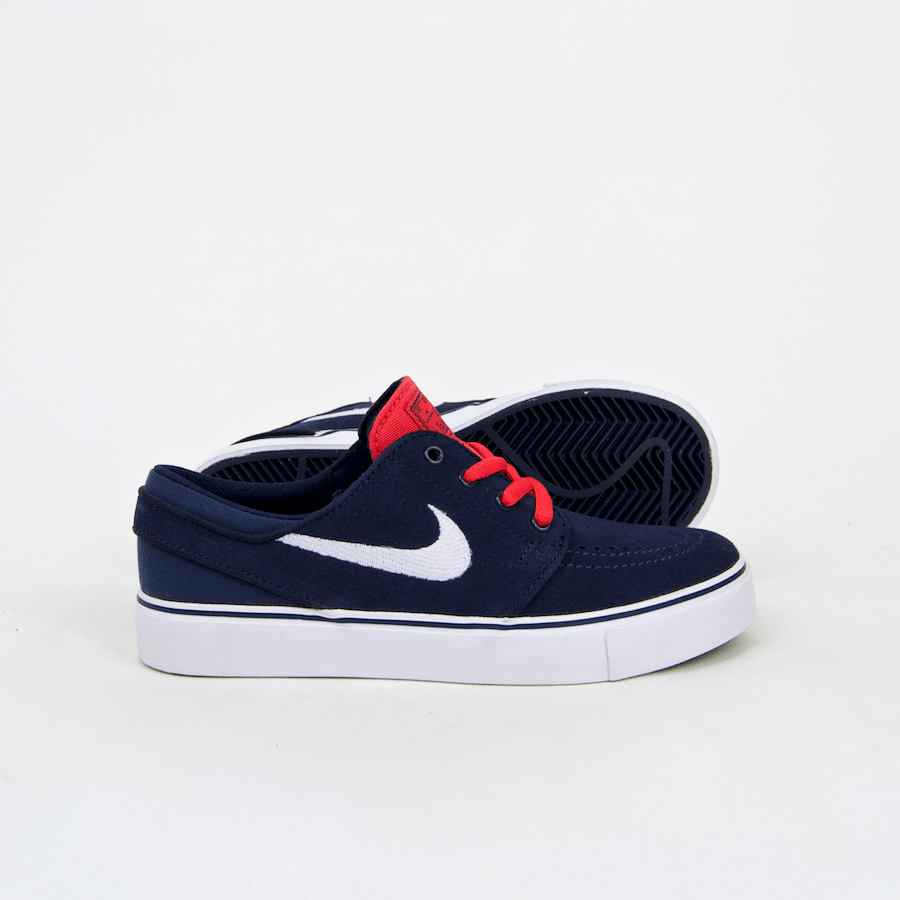 Nike SB - KIDS Stefan Janoski Shoes - Midnight Navy / White / Light Crimson