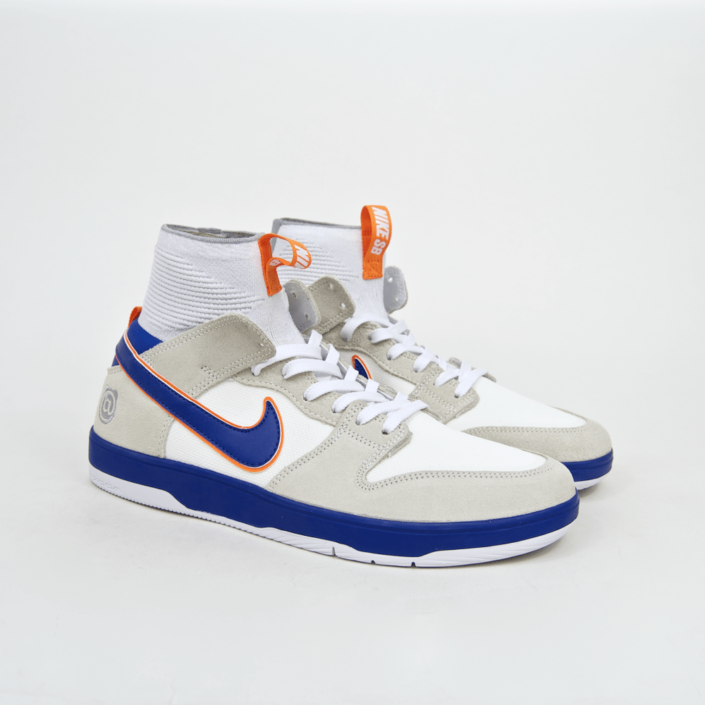 Nike SB - 'Medicom' Dunk High Elite QS Shoes - White / College Blue - White - Gold Post
