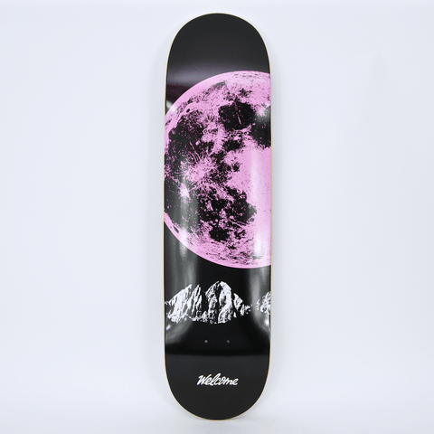 Welcome Skate Store - Pink Moon Skateboard Deck - Black