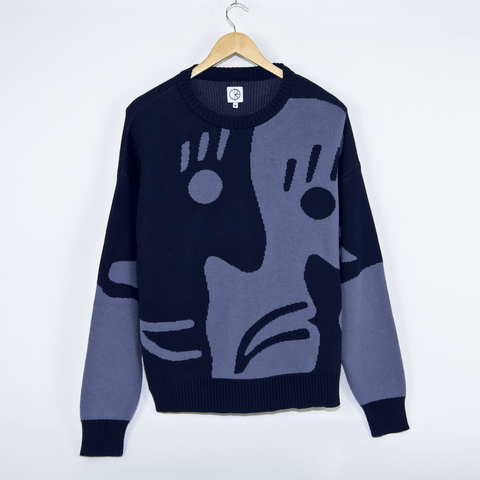 Polar Skate Co. - Art Knit Crewneck Sweatshirt - Dark Blue / Dusty Blue