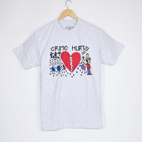 Quartersnacks - Crime Hurts T-Shirt - Ash Grey