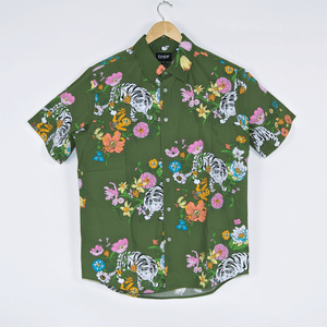 Rip N Dip - Blooming Nermal Short Sleeve Button Up Shirt - Olive Green