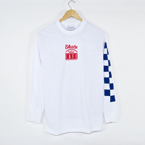 Skateboard Cafe - Check Longsleeve T-Shirt - White / Red / Blue