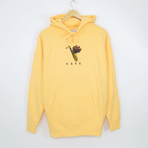 Skateboard Cafe - Sax Flowers Pullover Hooded Sweatshirt - Peach