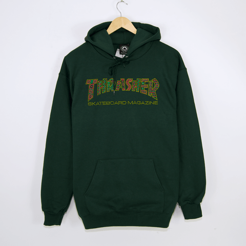 Thrasher - Davis Logo Pullover Hooded Sweatshirt - Forest Green