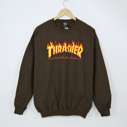 Thrasher - Flame Crewneck Sweatshirt - Brown