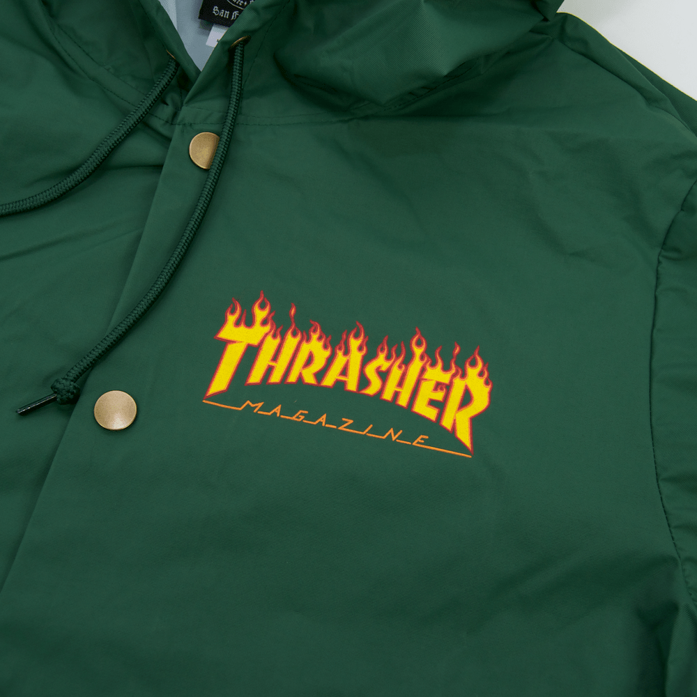 cdd5b3a0840f ... Thrasher - Flame Logo Coach Jacket - Forest Green ...