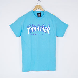 Thrasher - Flame Logo T-Shirt - Sky Blue