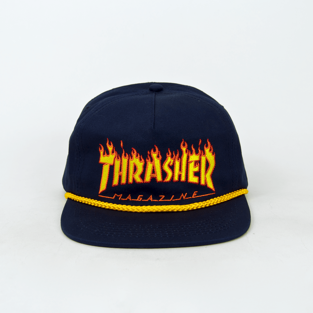 Thrasher - Flame Rope Snapback Cap - Navy