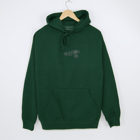 Welcome Skate Store - Worrld Pullover Hooded Sweatshirt - Bottle Green / 3M