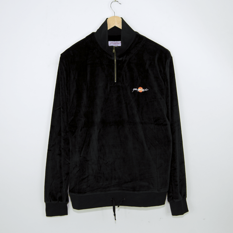 Yardsale - Miami Velour Quarter Zip Sweatshirt - Black