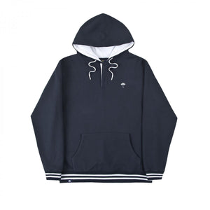 Helas - Buttoned Hoodie Hooded Sweatshirt - Navy