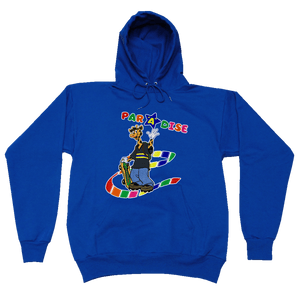 Paradise - Giraffe Skateboarder Hooded Sweatshirt - Royal