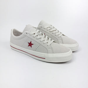 Converse Cons -  One Star Pro Ox Shoes - Egret / Claret Red / Egret