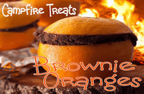 Campfire Cakes | Hollowed Out Oranges Filled With Brownie.