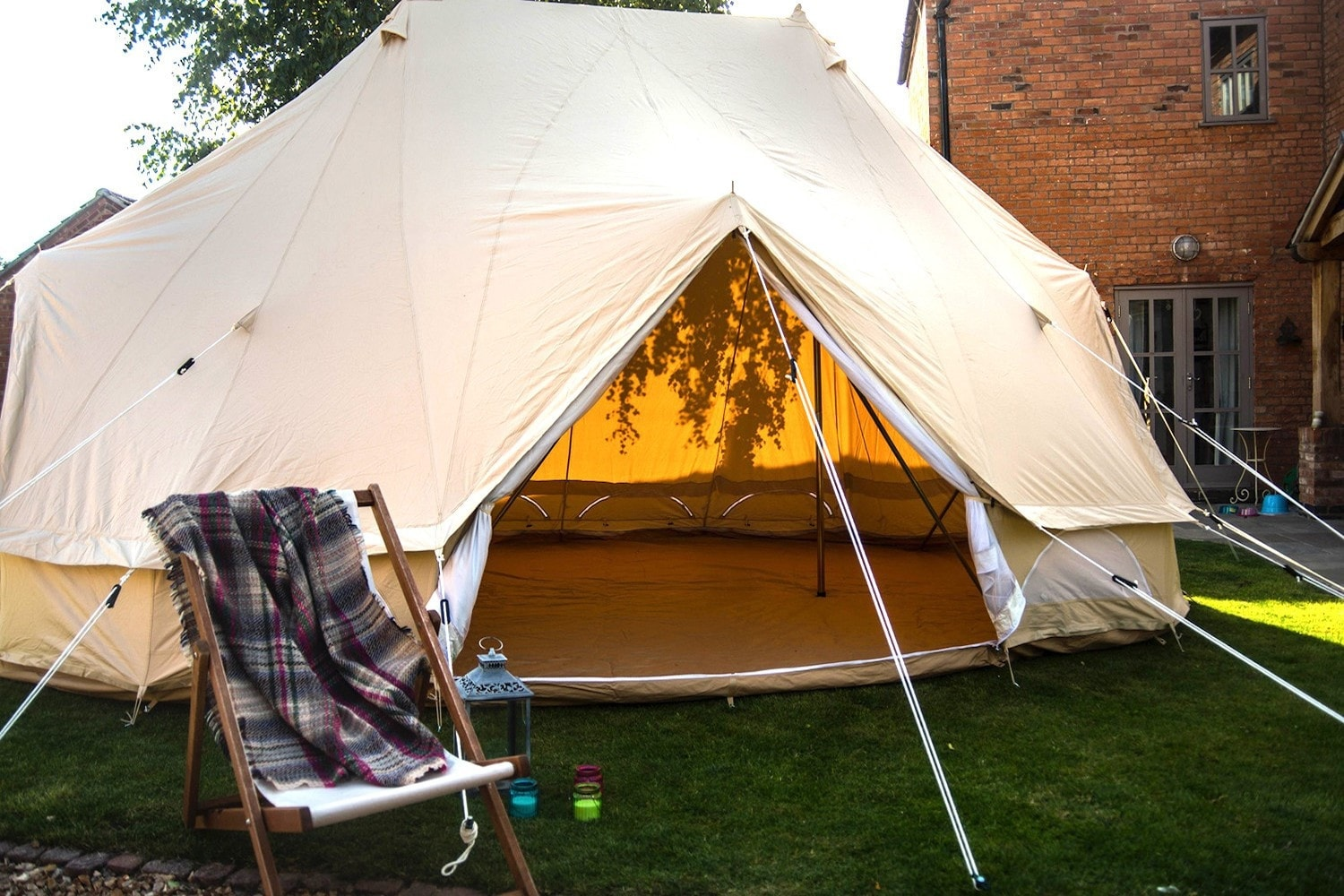 NOT TENT Large Canvas Bell Tent Awning 400 x 240-1 pole By Bell Tent Boutique