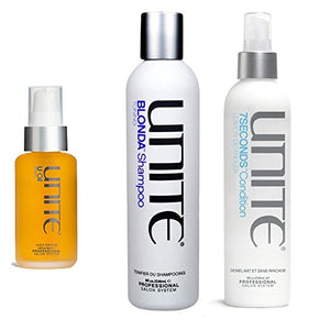 Unite Blonda Shampoo 8 oz , Unite 7 Seconds Conditioners Detangler 8 oz , Unite U Oil 3.3 oz